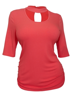 Plus Size Mock Neck Half Sleeve Keyhole Top Coral