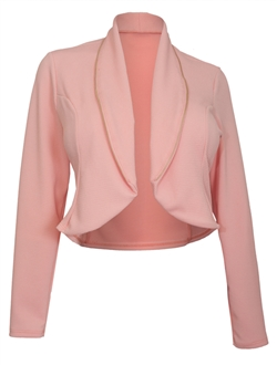 Plus Size Zipper Detail Open Front Jacket Pink