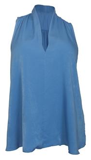 Plus size Pleat V-Neck Blouse Blue