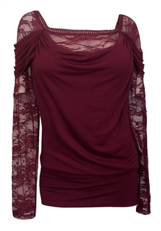 Plus size Floral Lace Sleeve Top Wine