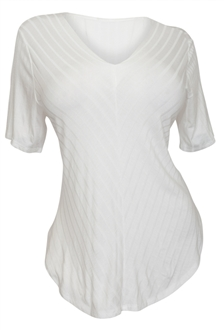 Plus Size V-Neck Curved Hem Top White
