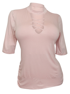 Plus Size Lace Up Mock Neck Top Pink