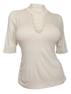 Plus Size Lace Up Mock Neck Top Ivory