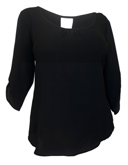 Plus Size Wide Scoop Neck Open Back Top Black