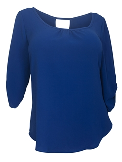 Plus Size Wide Scoop Neck Open Back Top Royal Blue