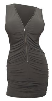 Plus size Zipper Front Ruched Mini Dress Olive