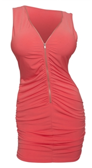 Plus size Zipper Front Ruched Mini Dress Coral