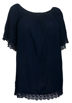 Plus Size Crochet Trim Scoop Neck Top Navy
