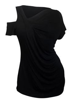 Plus Size One Cutout Cold Shoulder Short Sleeve Top Black