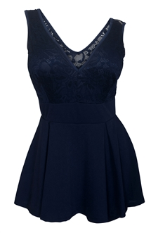Plus size Lace Overlay Sleeveless Romper Dress Navy