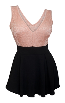 Plus size Lace Overlay Sleeveless Romper Dress Peach