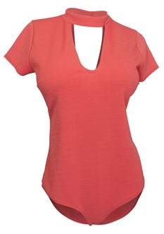 Plus Size Peep Hole Bodysuit Coral