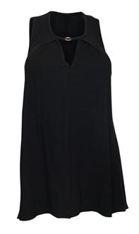 Plus Size Keyhole Sleeveless Tunic Top Black