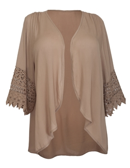 Plus Size Crochet Detail Open Front Cardigan Taupe