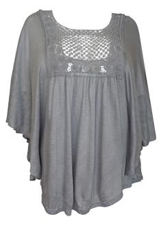 Plus Size Crochet Poncho Top Gray