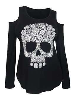Plus Size Cold Shoulder Long Sleeve Skull Top Black