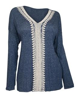 Plus Size Crochet Inset Long Sleeve Top Blue