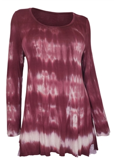 Plus Size Long Sleeve Tie Dye Tunic Top Burgundy