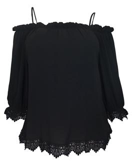 Plus Size Crochet Trim Off Shoulder Top Black