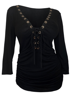Plus Size V-Neck Lace Up Top Black 16113