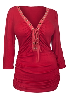 Plus Size V-Neck Lace Up Top Red  16113