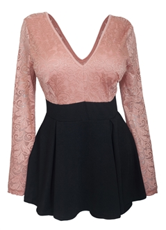 Plus size Lace Overlay Romper Dress Dusty Pink
