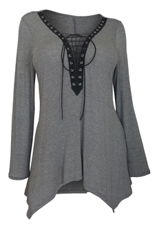 Plus Size Lace Up Long Sleeve Top Gray