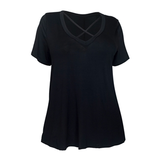 Women's Cross Keyhole Short Sleeve Top Black