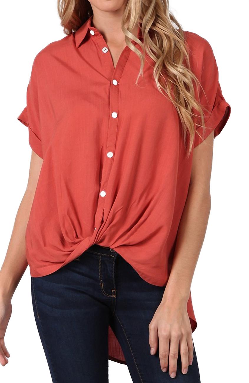 Women's Short Sleeve Button Down Blouse Mauve