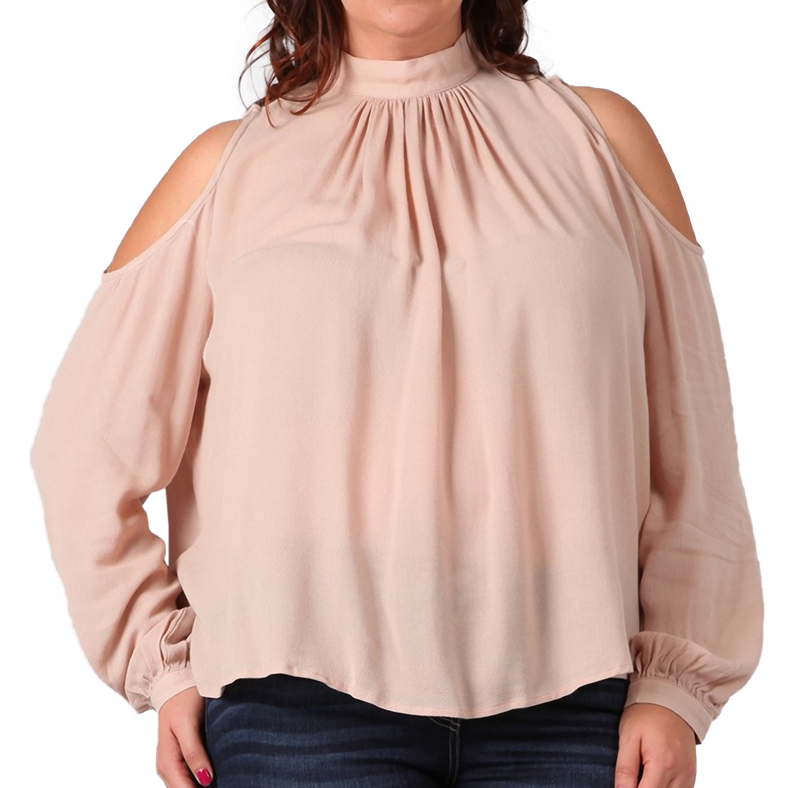 Women's Cutout Shoulder Long Sleeve Blouse Blush