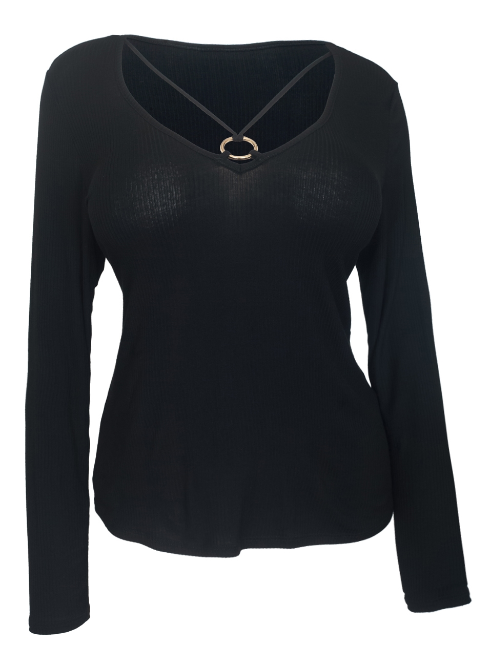 Women's O-ring Detail Long Sleeve Top Black