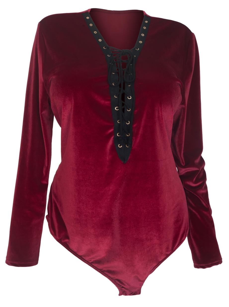 Women's Lace Up Velvet Bodysuit Burgundy