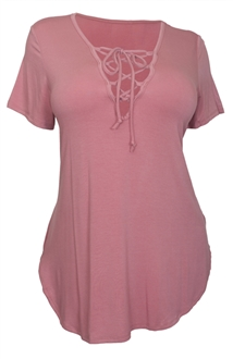 Women's V-Neck Lace Up Curved Hem Top Pink