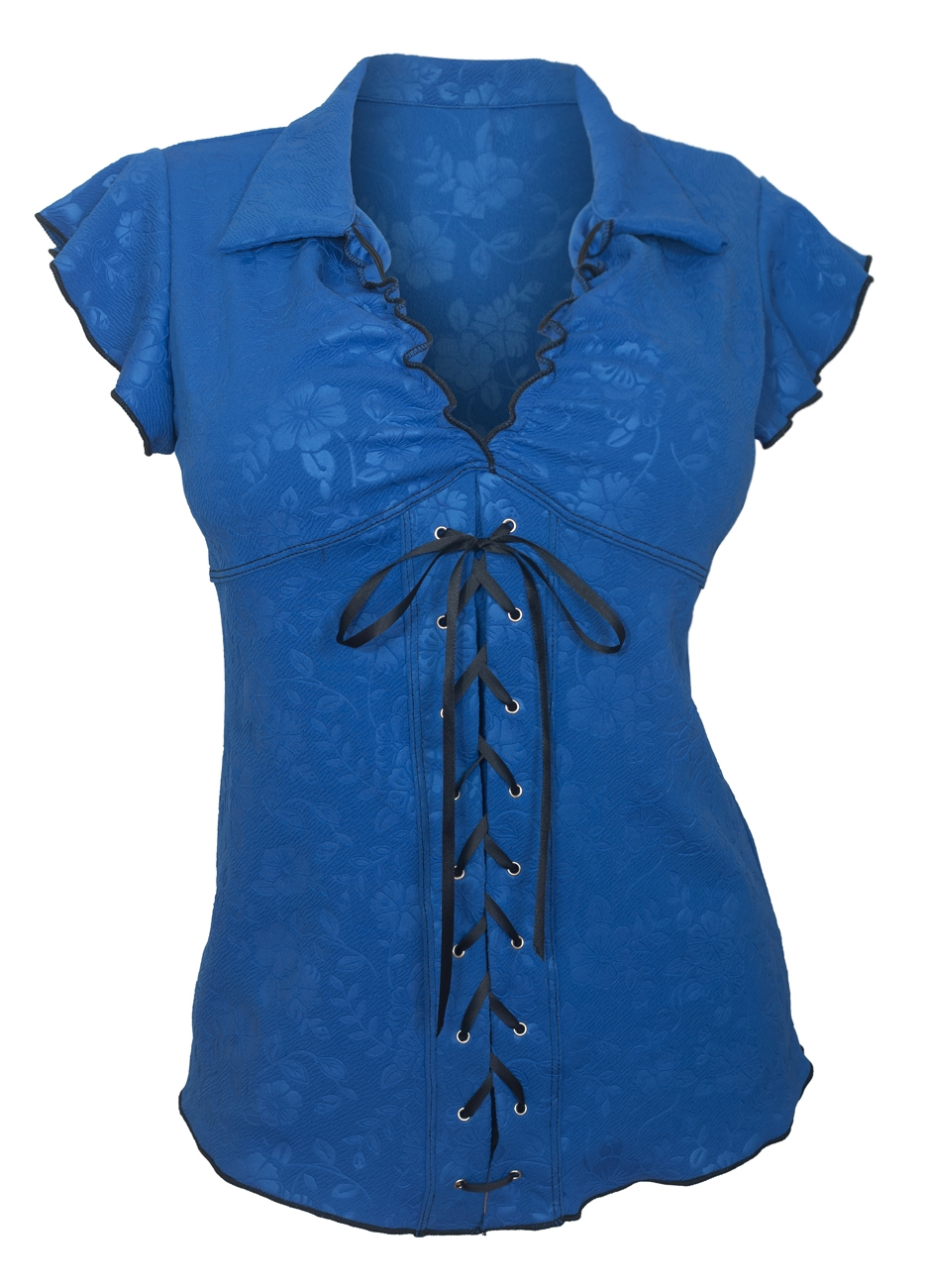 Plus Size Sexy Lace Corset Top Floral Embossed Blue