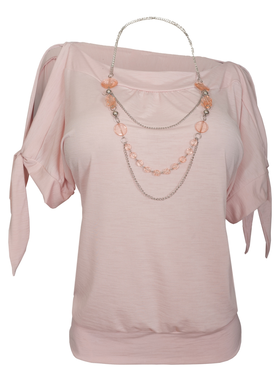 Women's Cold Shoulder Top with Necklace Detail Pink