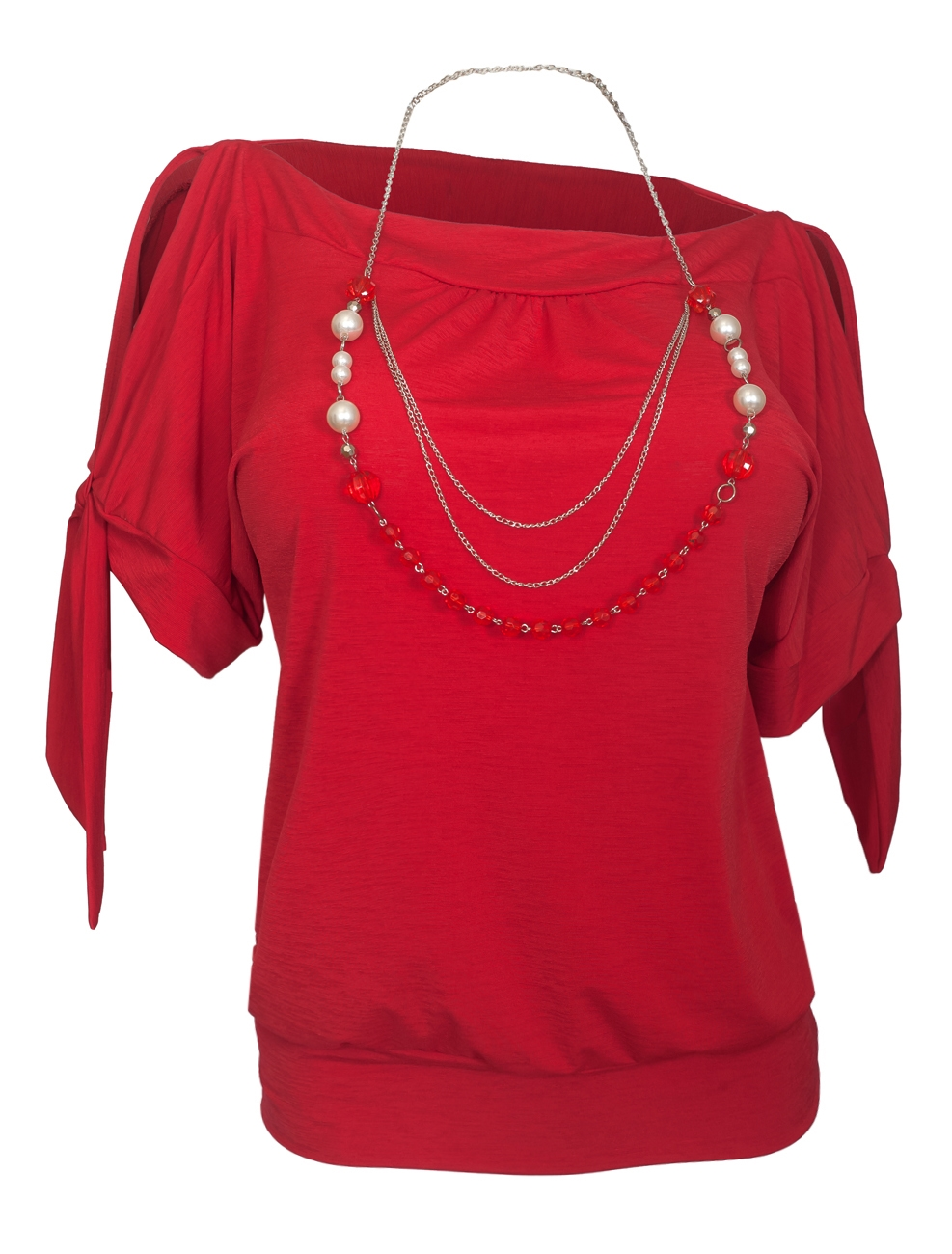 Women's Cold Shoulder Top with Necklace Detail Red