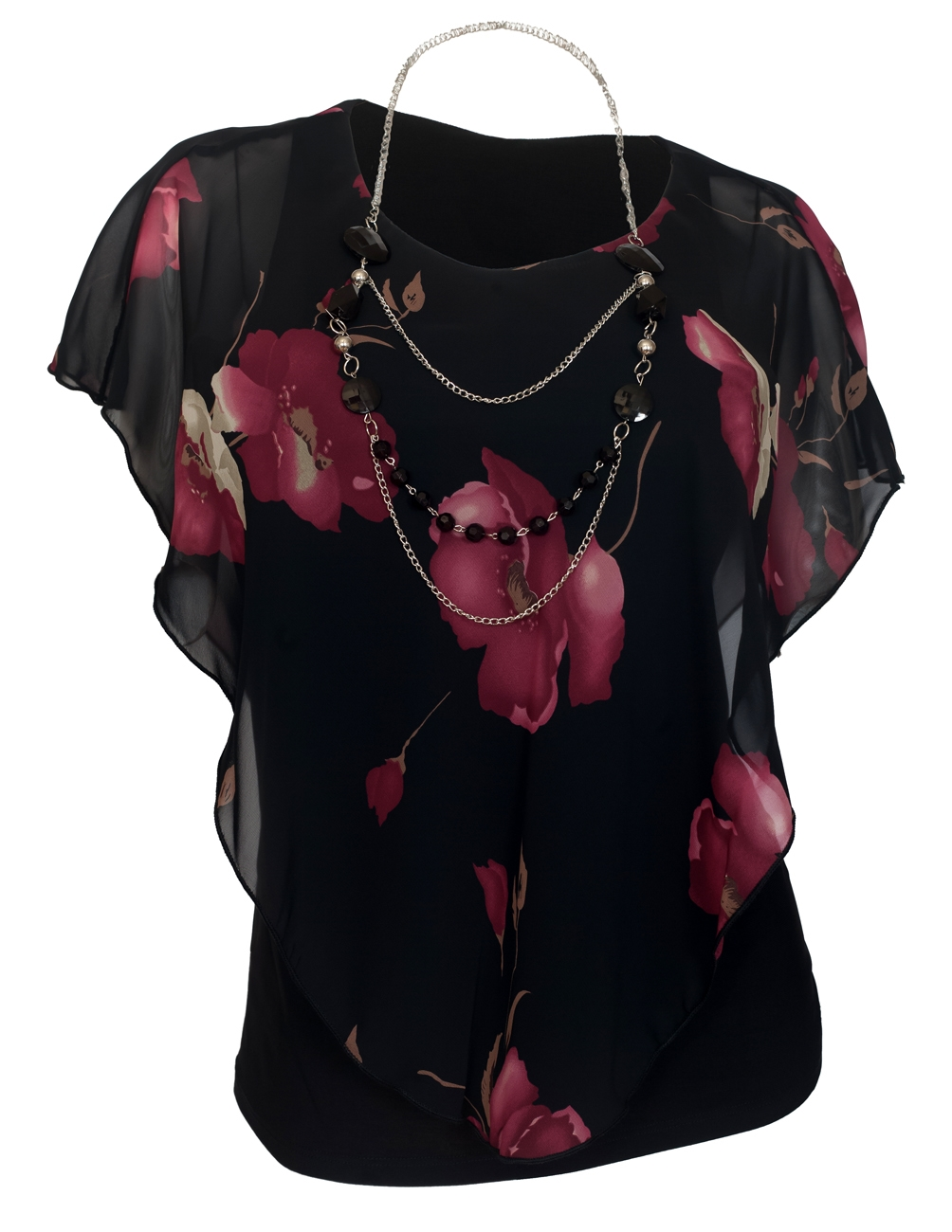 Plus Size Layered Poncho Top Black Floral Print 1792
