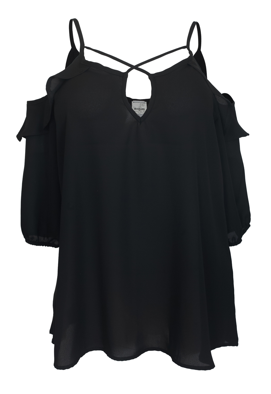 Shoulder | Chiffon | Cross | Strap | Black | Plus | Size | Off | Top