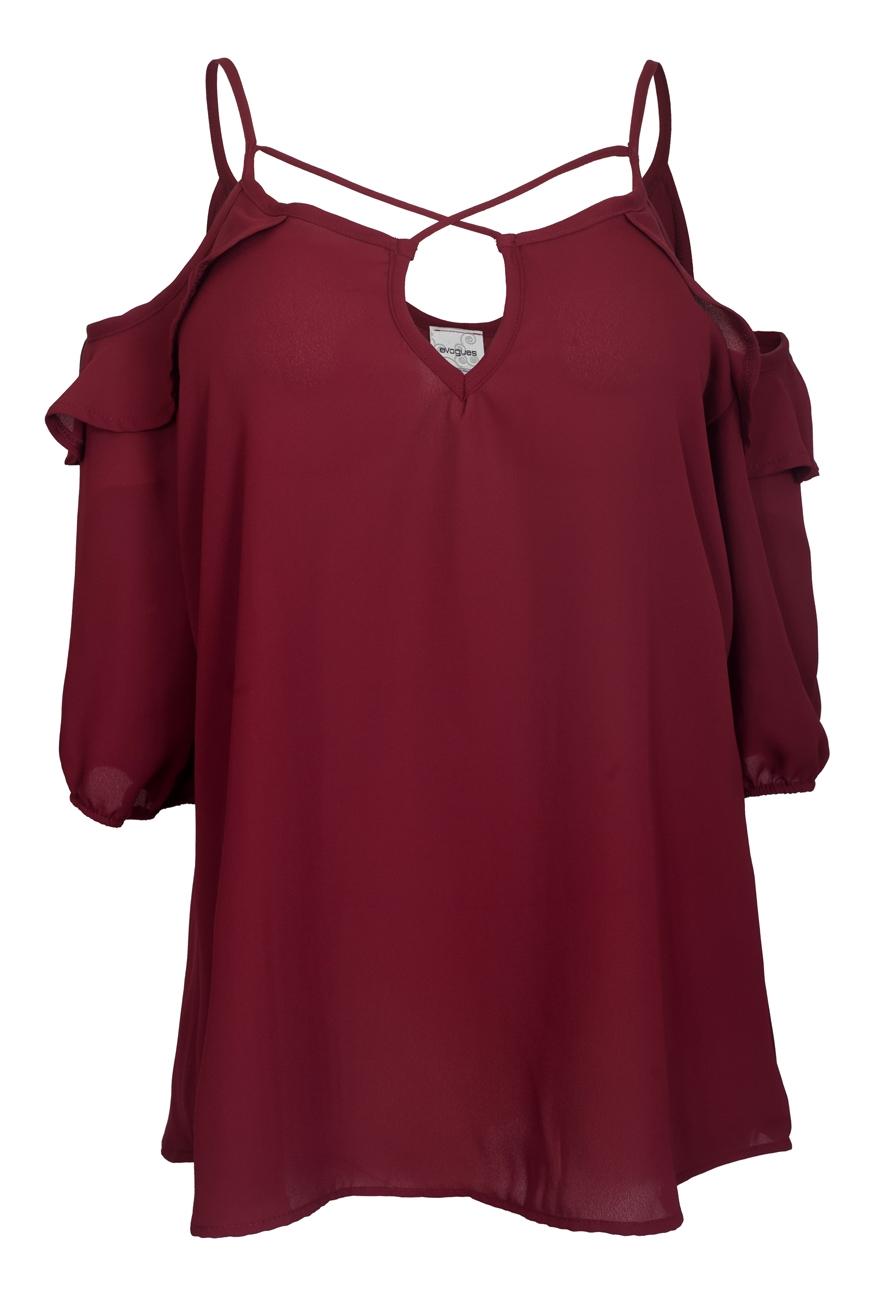 Burgundy | Shoulder | Chiffon | Cross | Strap | Plus | Size | Off | Top
