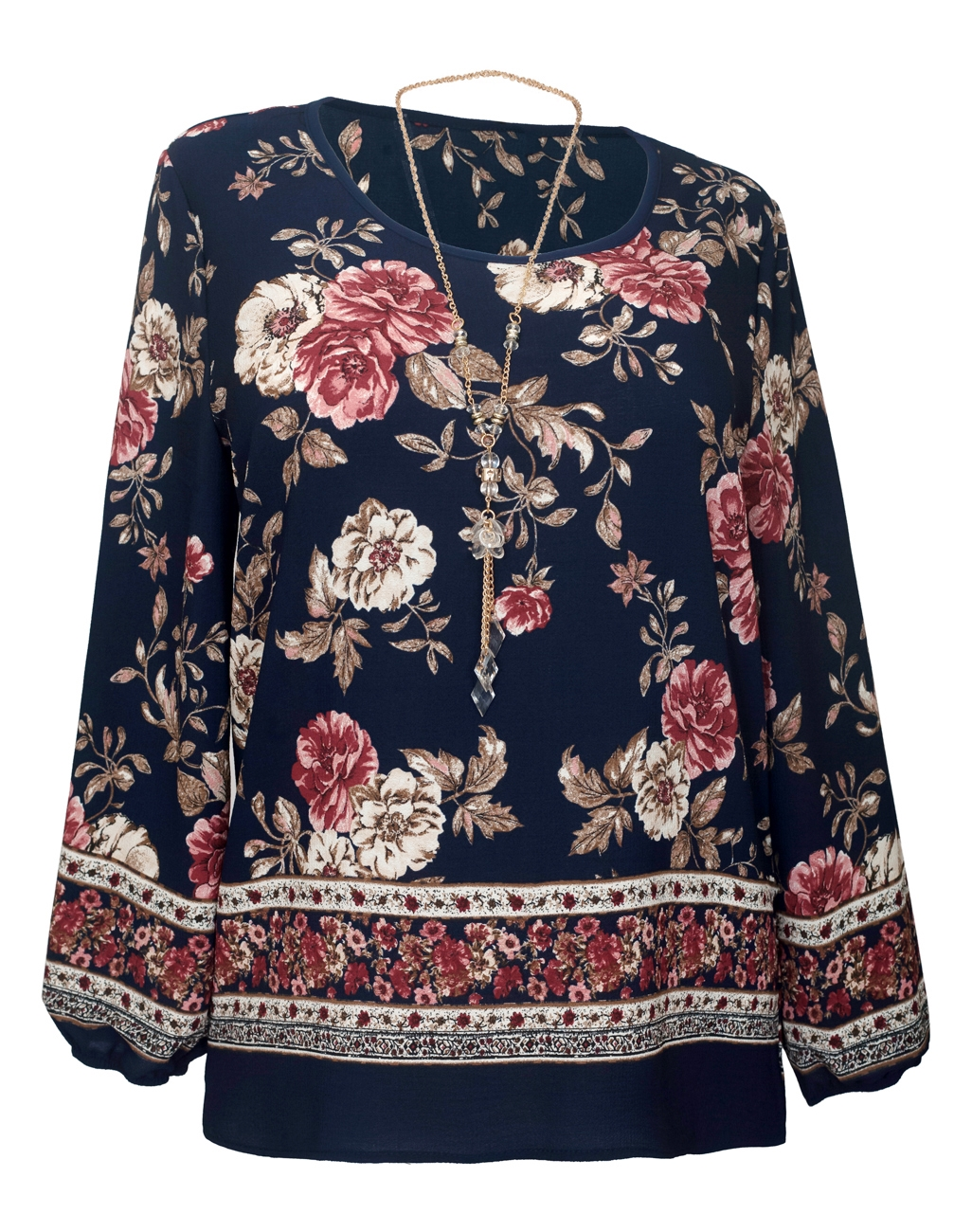 Plus Size Long Sleeve Top Navy Floral Print