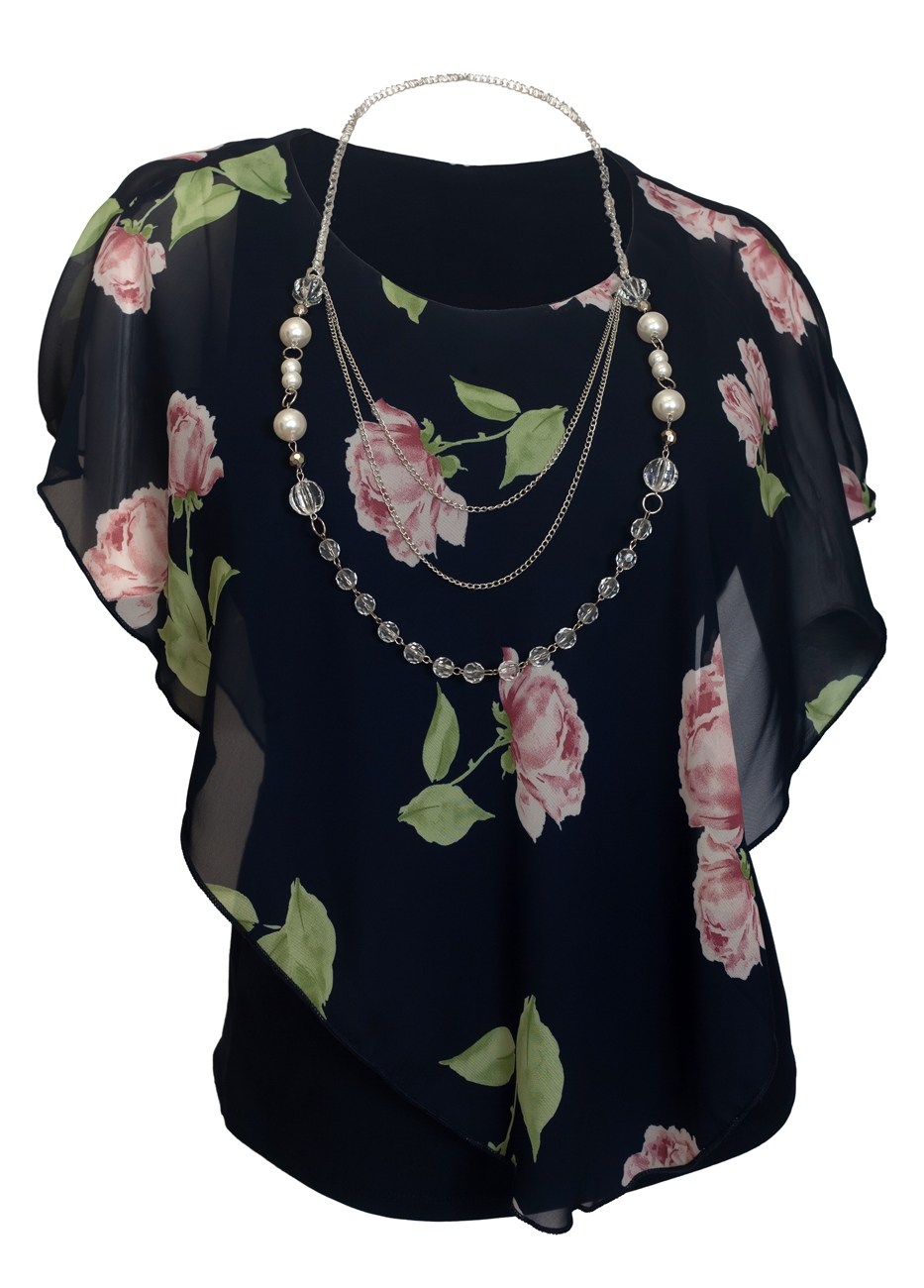 Plus Size Layered Poncho Top Floral Print Navy 18219