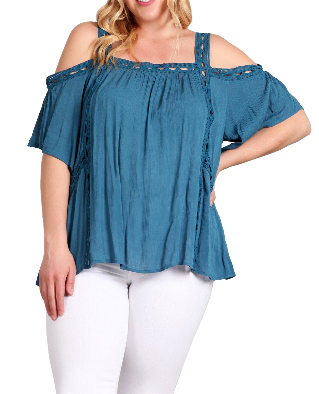 Plus Size Cold Shoulder Square Neck Top Teal 18219