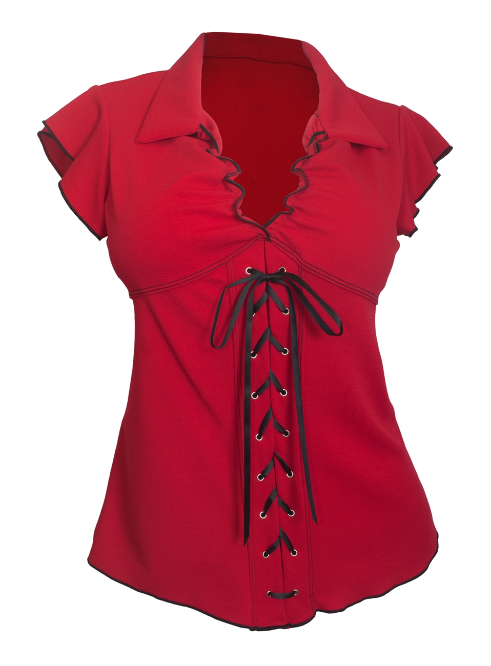Plus Size Sexy Lace Corset Top Embossed Red 18329