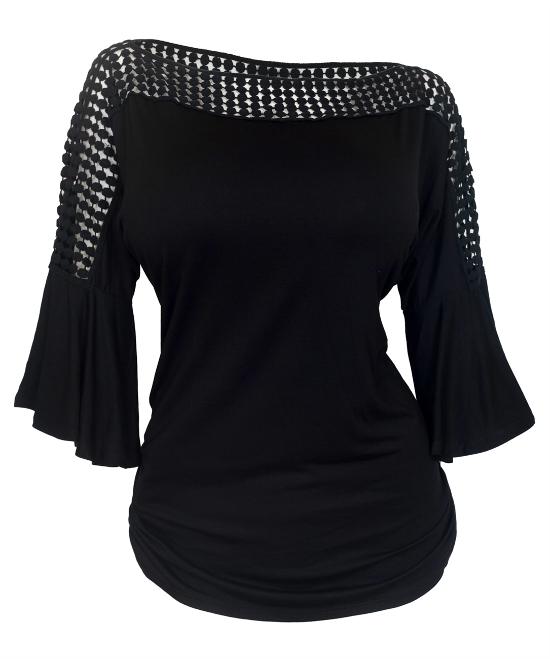 Plus Size Crochet Neck Bell Sleeve Top Black