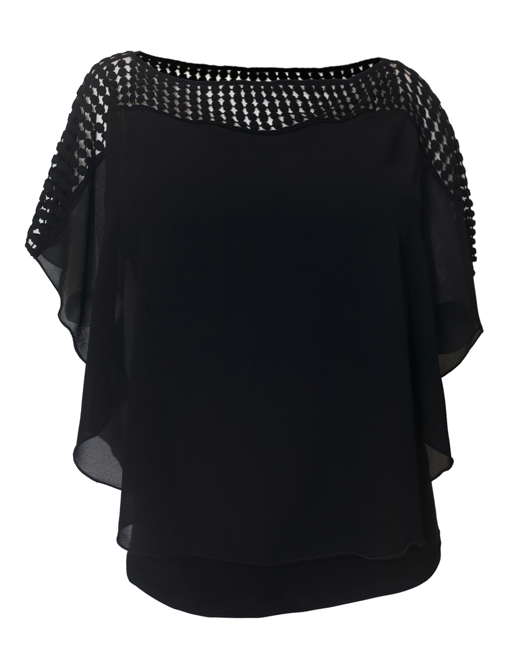Plus Size Layered Poncho Top Crochet Shoulder Black 18528
