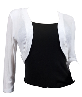 Купить Plus Size White 3/4 Sleeve Cropped Bolero Shrug