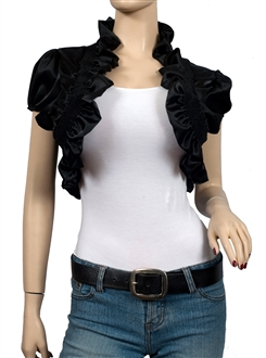 Купить Plus Size Sexy Black Ruffled Collar Cropped Wrap Shrug Bolero
