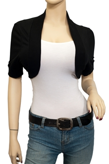 Jr Plus Size Cotton Cropped Bolero Shrug Black