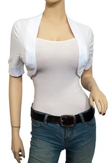 Image of Jr Plus Size Cotton Cropped Bolero Shrug White