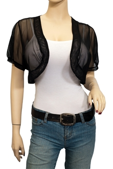 Jr Plus Size Sheer Cropped Bolero Shrug Black